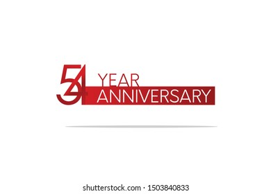 54 Year Anniversary Red Color with White Text, For Invitation, banner, ads, greeting card - Vector