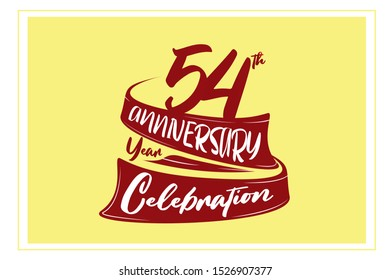 54 year anniversary Red Ribbon, minimalist logo, greeting card. Birthday invitation. 54 year sign. Red space vector illustration on yellow background - Vector