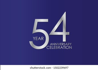 54 Year Anniversary Silver Color on Blue Background, For Invitation, banner, ads, greeting card - Vector