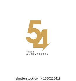 54 Year Anniversary Vector Template Design Illustration