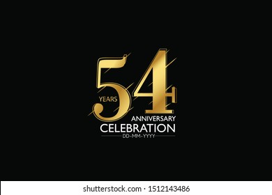 54 year minimalist logo years, jubilee, greeting card. Birthday invitation. Sign Gold space vector illustration on black background - Vector