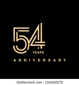 54 years anniversary celebration logotype. anniversary logo with golden and silver color isolated on black background, vector design for celebration, invitation card, and greeting card - Vector