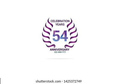 54 years anniversary celebration logotype. anniversary logo with watercolor purple and blue  isolated on white background, vector design for celebration, invitation card, and greeting card-vector