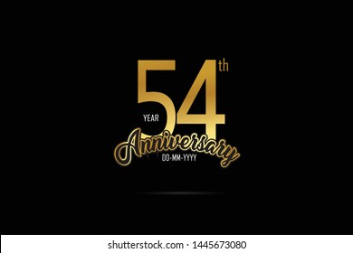 54 years anniversary celebration logotype. anniversary logo with golden Ribbons isolated on black backgrounds, for Birthdays, Invitation, Banner Card - Vector