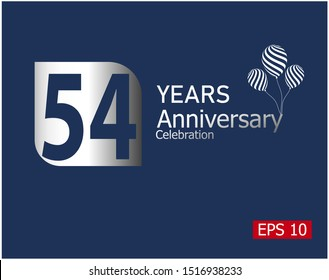 54 years anniversary celebration logotype with silver color isolated on blue background