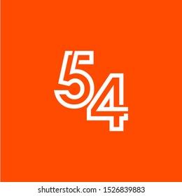 54 Years Anniversary Celebration Vector Template Design Illustration