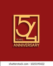 54 years anniversary design logotype golden color in square isolated on red background for celebration event