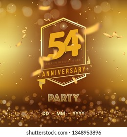 54 years anniversary logo template on gold background. 54th celebrating golden numbers with red ribbon vector and confetti isolated design elements