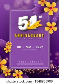 54 years anniversary logo template on golden flower and purple background. 54th celebrating white numbers with gold ribbon vector and bokeh design elements, anniversary invitation template card design