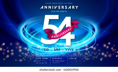 54 years anniversary logo template on dark blue Abstract futuristic space background. 54th modern technology design celebrating numbers with Hi-tech network digital technology concept design elements.