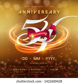 54 years anniversary logo template on golden Abstract futuristic space background. 54th modern technology design celebrating numbers with Hi-tech network digital technology concept design elements.