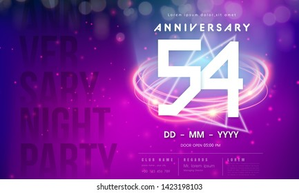 54 years anniversary logo template on purple Abstract futuristic space background. 54th modern technology design celebrating numbers with Hi-tech network digital technology concept design elements.