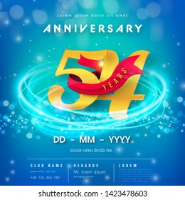 54 years anniversary logo template on blue Abstract futuristic space background. 54th modern technology design celebrating numbers with Hi-tech network digital technology concept design elements.