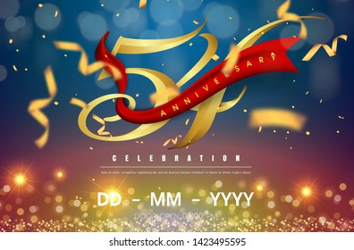 54 years anniversary logo template on gold and blue background. 54th celebrating golden numbers with red ribbon vector and confetti isolated design elements