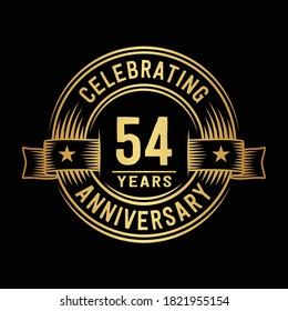 54 years logo design template. 54th anniversary vector and illustration.