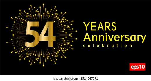 54st year anniversary celebration gold number with fireworks on dark background. vector illustration