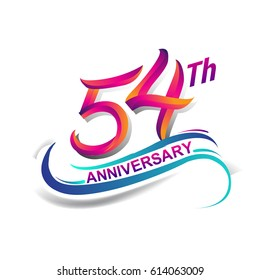 54th anniversary celebration logotype blue and red colored. fifty four years birthday logo on white background.