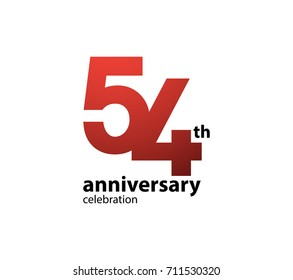 54th anniversary celebration logotype. anniversary logo simple isolated on white background, vector design for celebration, invitation card, and greeting card