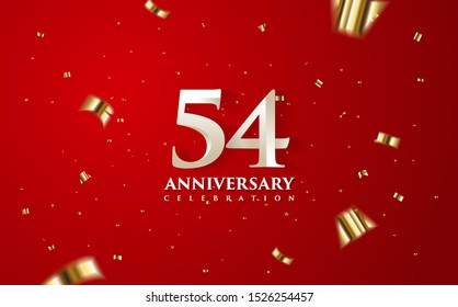 54th anniversary celebration vector background. by using three colors in the design between white, gold and black. vectors can be edited easily according to their needs and desires.