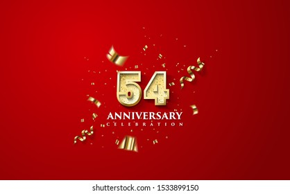 54th anniversary celebration vector background. by using three colors in the design between white, gold and Red. vectors can be edited easily according to their needs and desires.