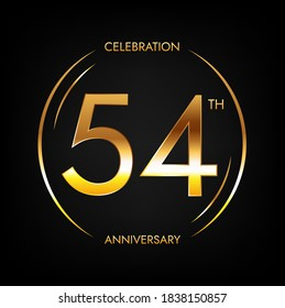 54th anniversary. Fifty-four years birthday celebration banner in bright golden color. Circular logo with elegant number design.