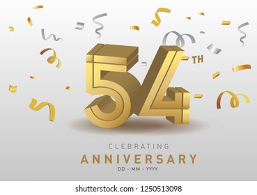 54th Anniversary gold numbers with golden confetti. Celebration 10th anniversary event party template.
