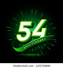 54th anniversary neon text vector design template. green number neon logo, light banner design element colorful design trend, night bright advertising neon text anniversary event party template