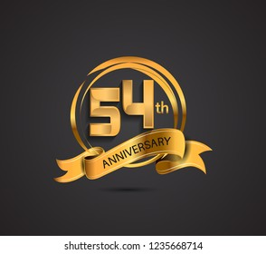 54th anniversary template design golden color with ribbon and ring memorial celebration event