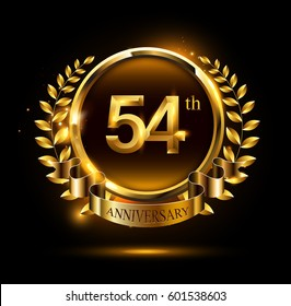 54th gold anniversary celebration logo with ring and ribbon, laurel wreath design