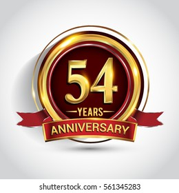54th golden anniversary logo, fifty four years birthday celebration with ring and red ribbon isolated on white background