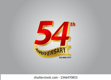 54th year anniversary Golden ribbon celebration logotype. anniversary logo with Red and Gold color isolated on grey background, vector design for celebration, invitation card - vector