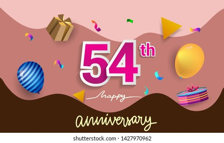 54th Years Anniversary Celebration Design, with gift box and balloons, ribbon, Colorful Vector template elements for your birthday celebrating party.