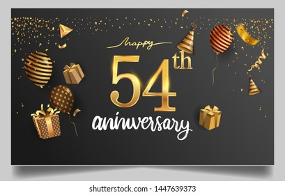 54th years anniversary design for greeting cards and invitation, with balloon, confetti and gift box, elegant design with gold and dark color, design template for birthday celebration.