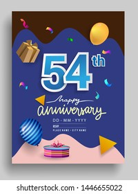 54th Years Anniversary invitation Design, with gift box and balloons, ribbon, Colorful Vector template elements for birthday celebration party.