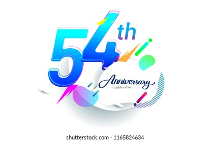 54th years anniversary logo, vector design birthday celebration with colorful geometric background, isolated on white background.