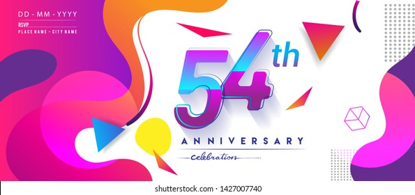 54th years anniversary logo, vector design birthday celebration with colorful geometric background and circles shape.