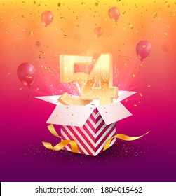 54th years anniversary vector design element. Isolated Fifty-four years jubilee with gift box, balloons and confetti on a colorful background