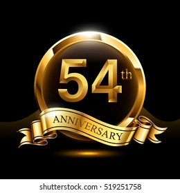 54th years golden anniversary logo celebration with ring and ribbon.