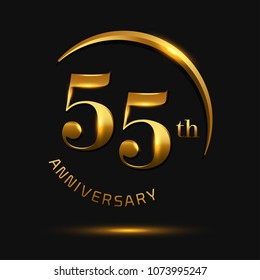 55 Anniversary Celebration Design.invitation card, and greeting card. elegance golden color isolated on black background