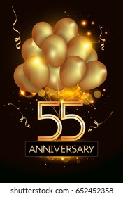 55 Anniversary Logo Celebration with Golden balloon and confetti, Isolated on dark Background
