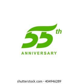 55 anniversary wave logo green
