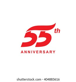 55 anniversary wave logo red