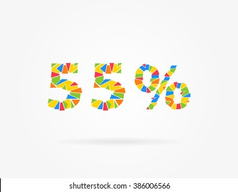 55 % discount colorful vector illustration on grey background. 55 (fifty five) percent off discount creative promotion concept. Special offer isolated element for banner, coupon, retail marketing.