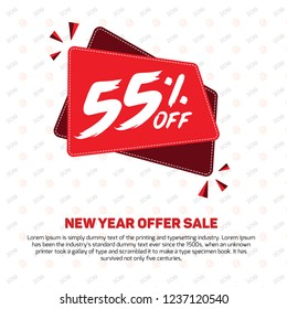 55% Discount Sale Off 55% Percent off 55% off big offer 55% Offer Sale Special Offer Design Vector Mega Black Friday Summer Advertising Promotional Poster Mobile Offers