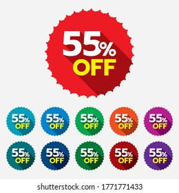 55% discount sticker. 55% off sale multi-color tag isolated vector illustration. Discount price label. Symbol for advertising campaign in retail.