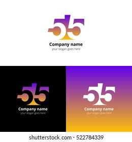 55 logo icon flat and vector design template. Monogram numbers five. Logotype fifty-five with violet-yellow gradient color. Creative vision concept logo, elements, sign, symbol for card, brand, banner