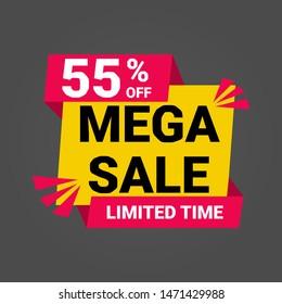 55% off mega sale vektor label free