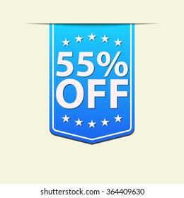 55% Off ribbon label. Blue color. Vector illustration.