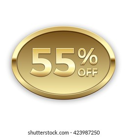 55% off vector badge, gold