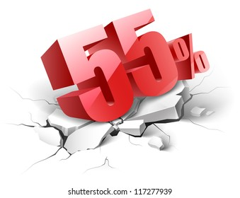 55 percent discount icon on white background